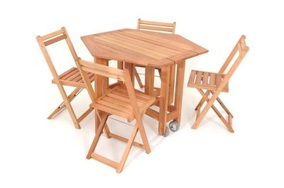 Imagens de Mesa Sextavada Metalnew Lyptus ( c/4 cadeiras)